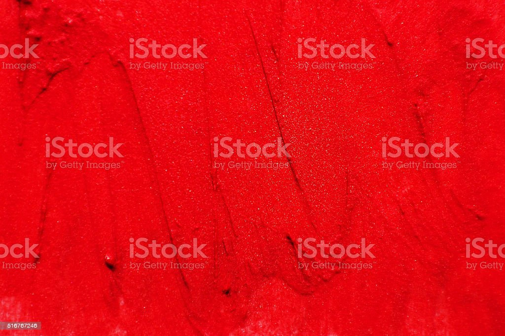 The texture of brush strokes of red lipstick stock photo
