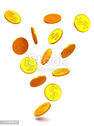 istock The texture of dollar coins. 1151958131