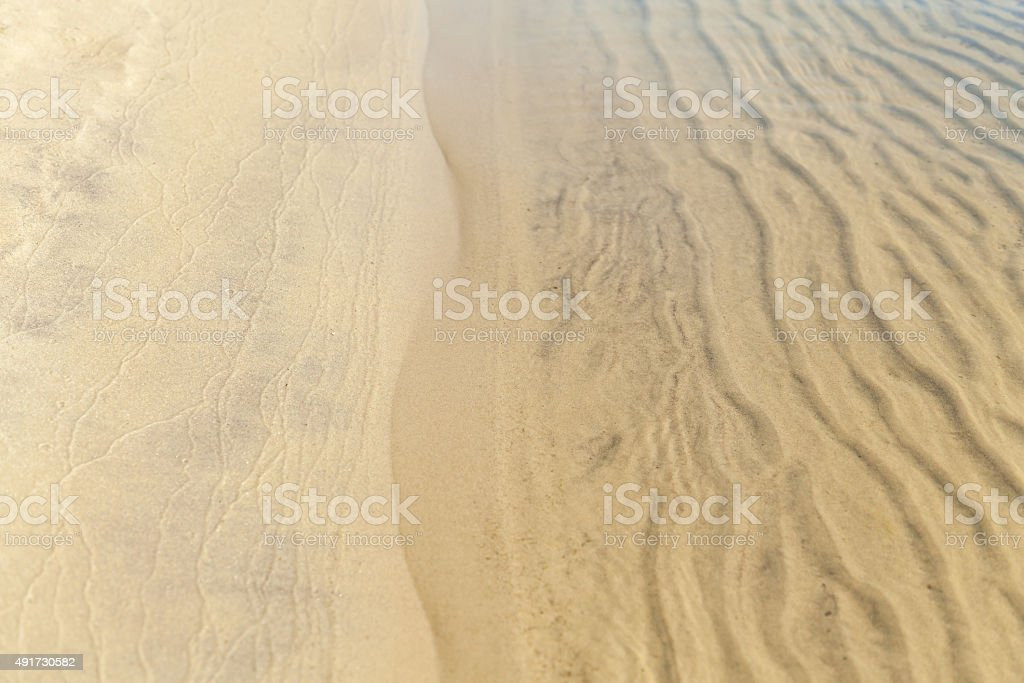 the texture of the sand in the water stock photo