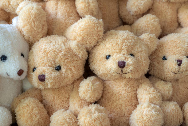 The texture of the teddy bear that is stacked together stock photo