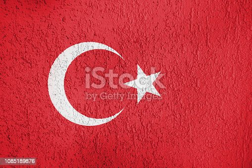 istock The texture of the Turkey flag on the wall 1085189876