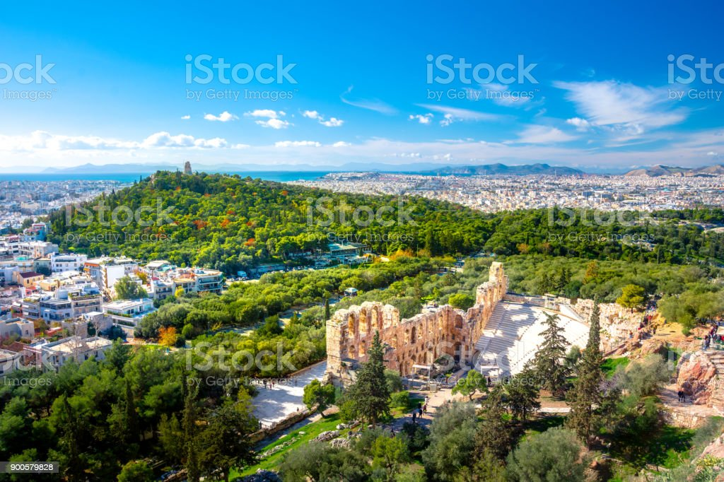 The theater of Herodion Atticus under the ruins of Acropolis, Athens, Greece. stock photo