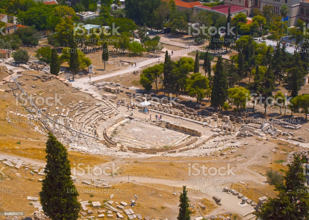 The Theatre Of Dionysios. A historical place of ancient civilization. Tourist attraction of Europe. stock photo