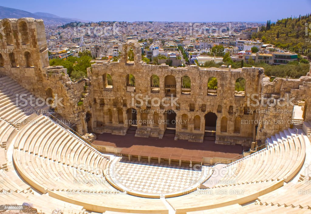 The Theatre Of Herodes Atticus . A historical place of ancient civilization. Tourist attraction of Europe. The view from the mountains. stock photo