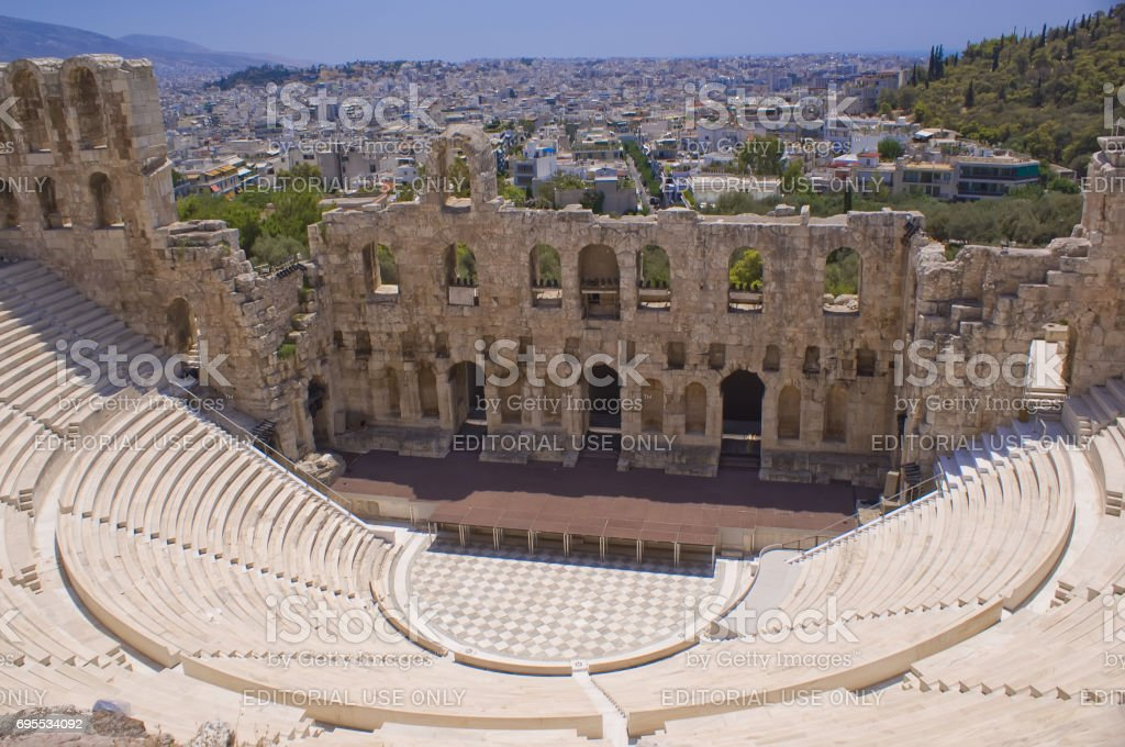 The theatre of Herodes Atticus in Athens. Panorama of the city of Athens in Greece.'n stock photo