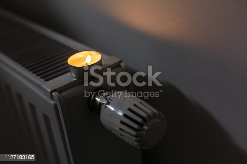 istock The thermostat of a heater is turned off 1127183165