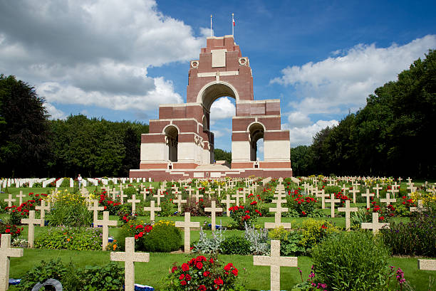 The Thiepval Memorial to the Missing of the Somme Thiepval France - July 6, 2016: The cemetery and memorial to the missing after the 100th Anniversary of the Battle of the Somme somme stock pictures, royalty-free photos & images