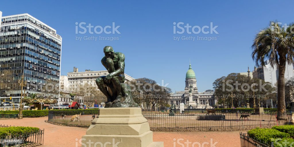 The Thinker by Rodin on Congress square monument in Buenos Aires, Argentina stock photo