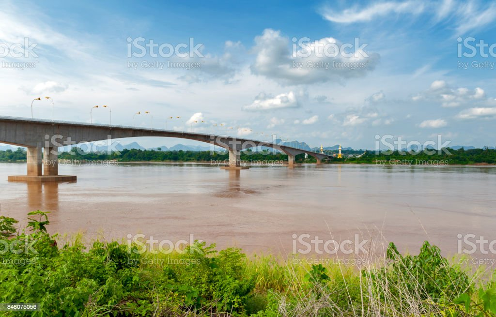 The Third Thai–Lao Friendship Bridge over the Mekong River connecting Nakhon Phanom Province in Thailand with Thakhek, Khammouane Province in Lao PDR. stock photo