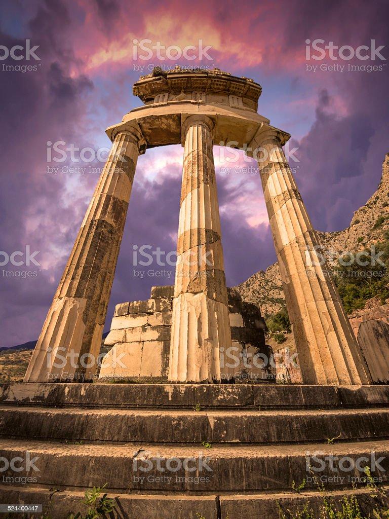 The Tholos at Delphi, Greece stock photo