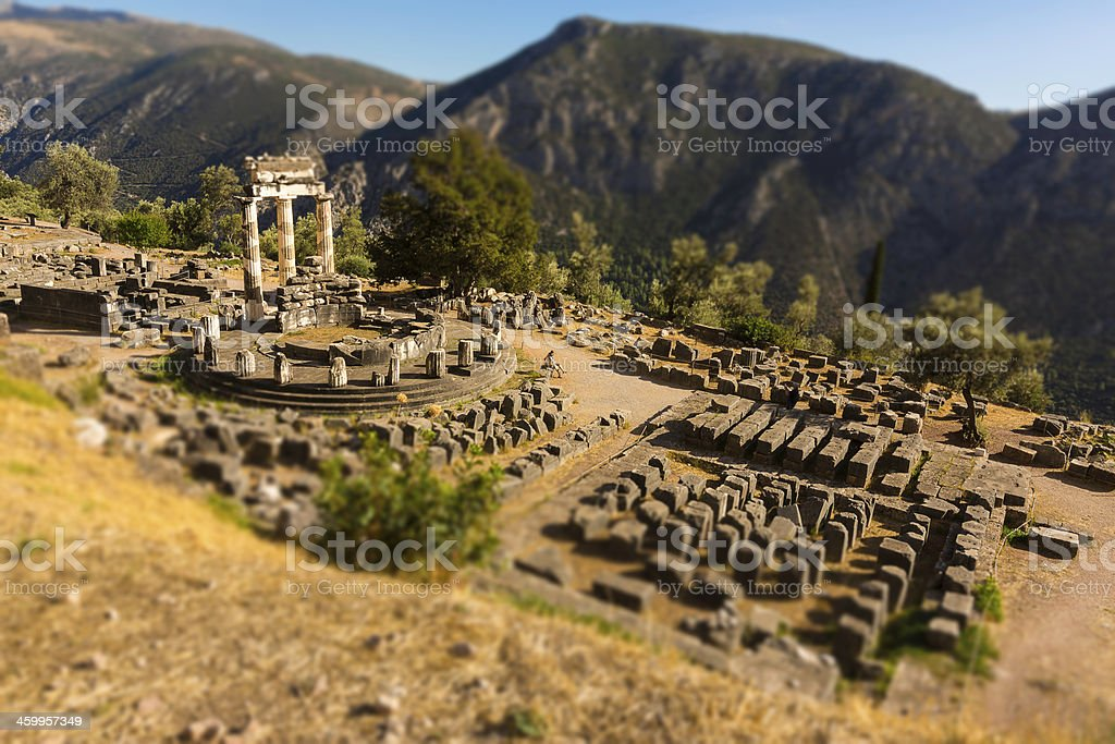 The Tholos, Greece - aerial view - tilt-shift effect stock photo