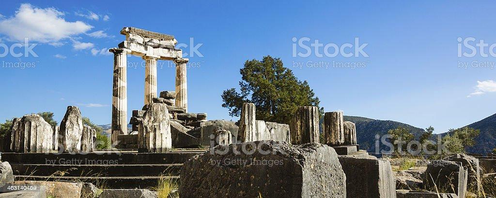 The Tholos in Delphi, Greece stock photo