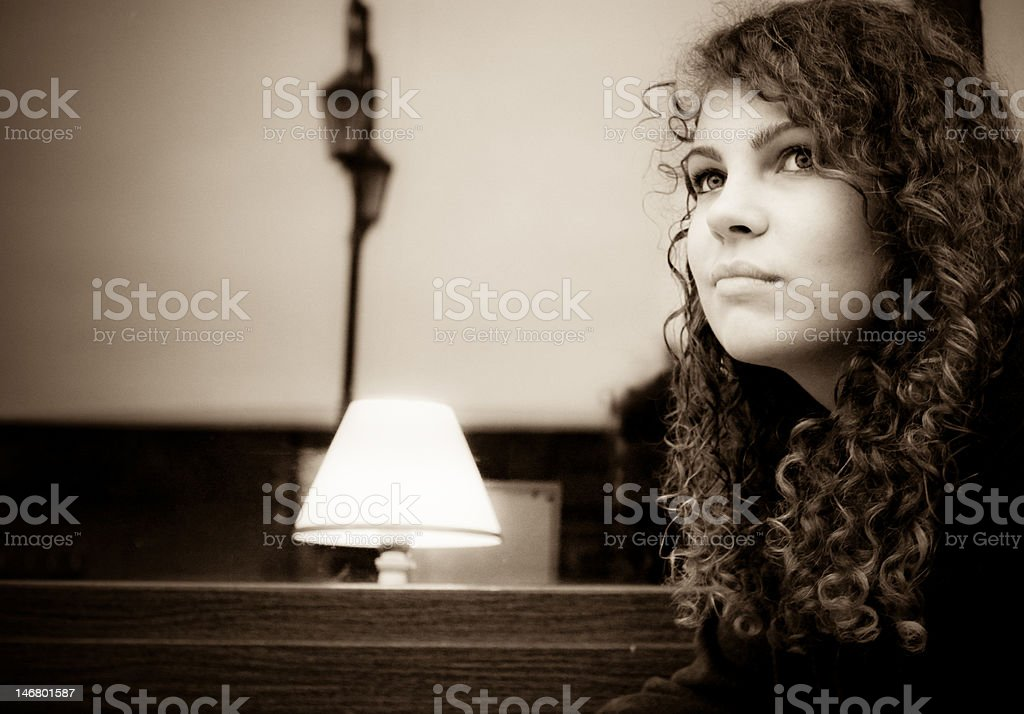 The thoughtful girl royalty-free stock photo