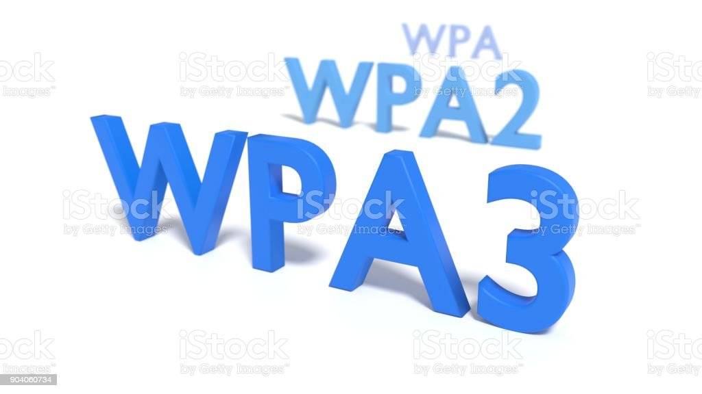 The three abbreviations WPA3 WPA2 and WPA on white floor fading into blur stock photo