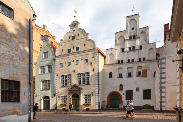 The Three Brothers in Riga stock photo
