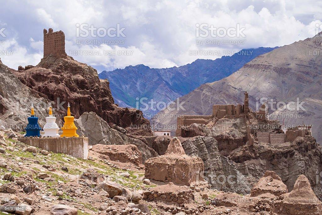 The three color stupas at Basgo Monastery stock photo