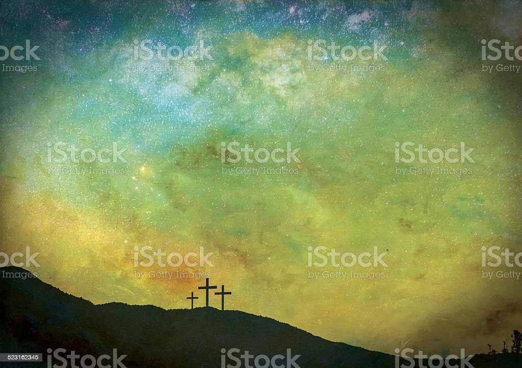 The Three crosses under the stars stock photo