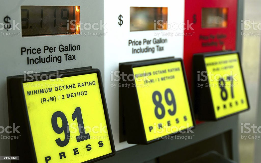 The three different gas prices at the gas station stock photo
