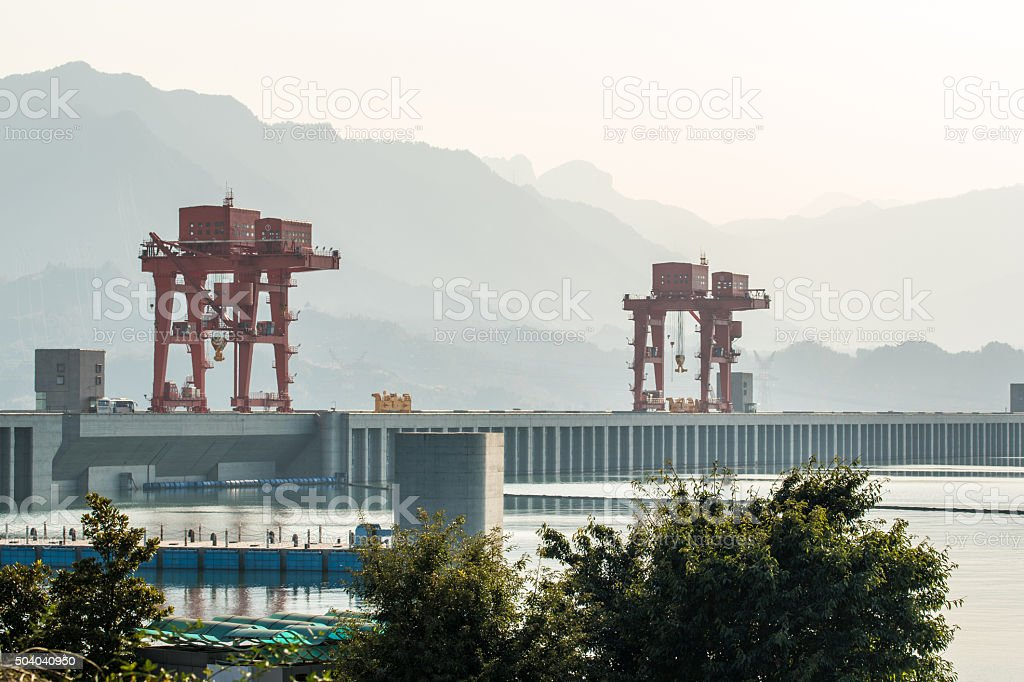 the Three Gorges Dam area at Yangtze River stock photo