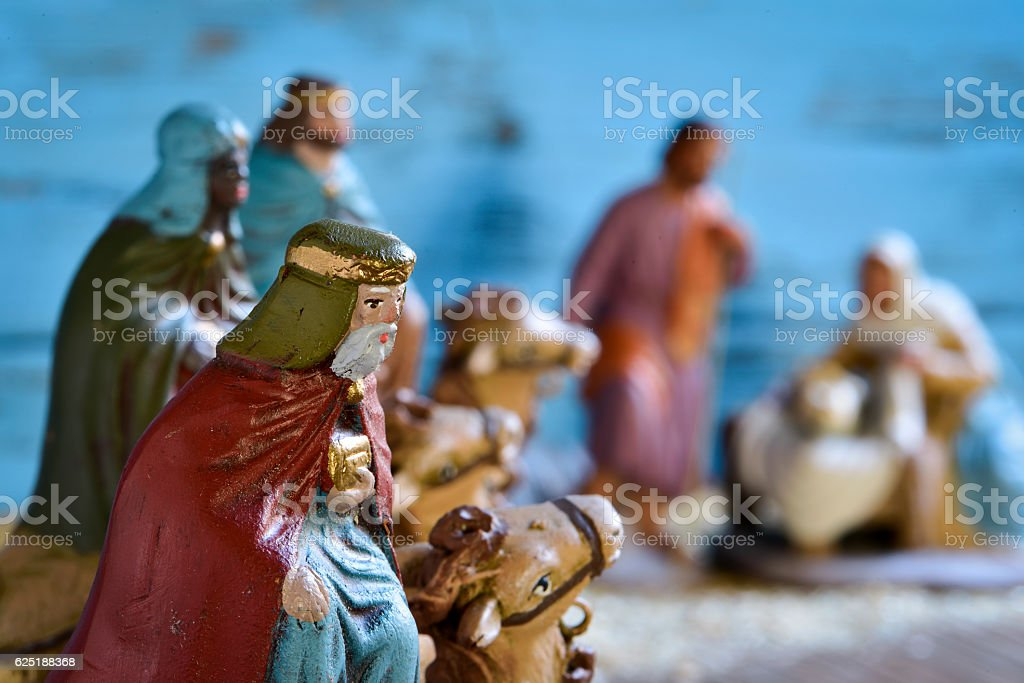 the three kings and the holy family stock photo
