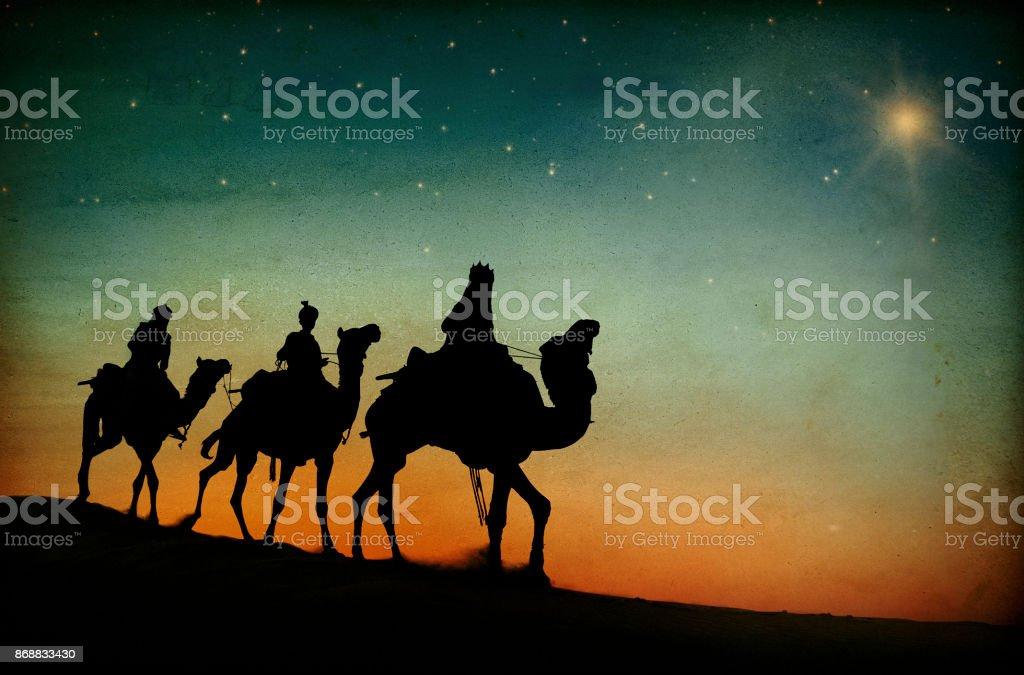 The three kings following the star. stock photo