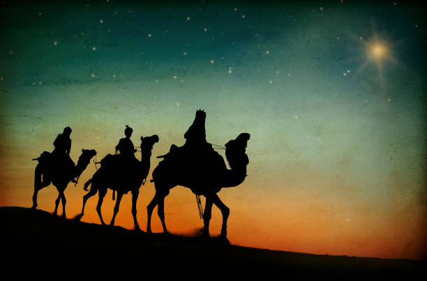 the three kings following the star. - nativity scene stock pictures, royalty-free photos & images