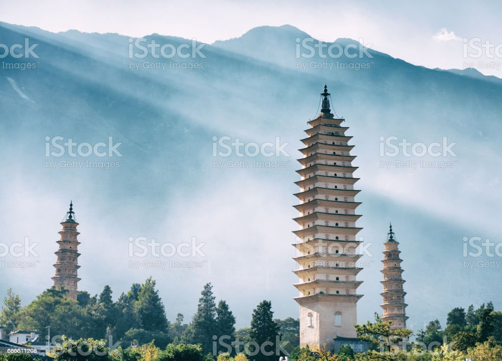 The Three Pagodas of Chongsheng Temple, Dali, China. Toned image royalty-free stock photo