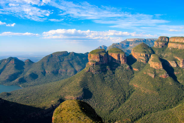 The Three Rondavels give a spectacular view over the Blyde River Canyon in South Africa stock photo