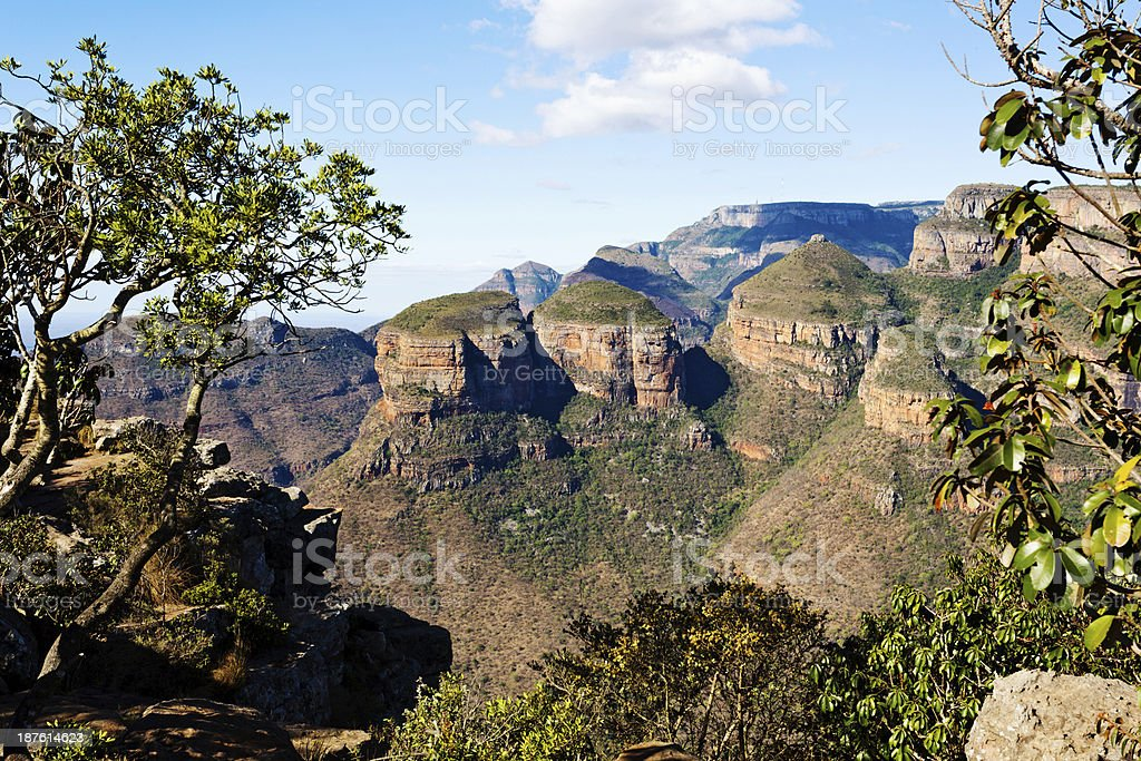 The Three Rondavels rock formation in Blyde River Canyon stock photo
