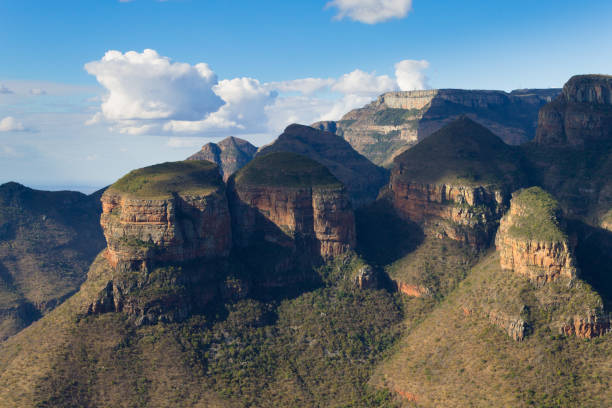 The Three Rondavels view, South Africa stock photo