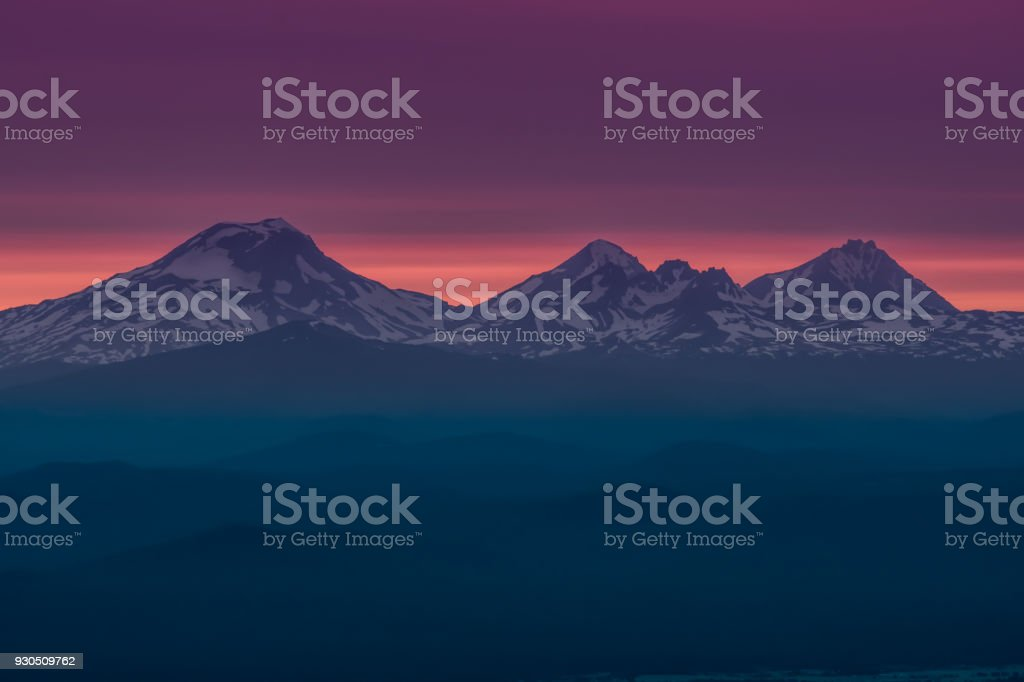The Three Sisters at Sunset Near Bend  Oregon stock photo