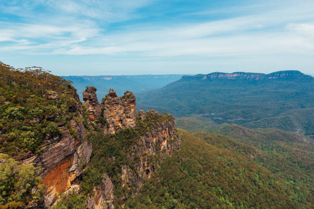 The Three Sisters from Echo Point in the Blue Mountains National Park at Sunset.