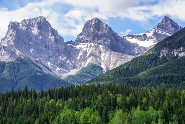 The Three Sisters Mountain in Canmore, Alberta Canada stock photo
