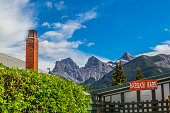 Сanmore Сanada - June 12, 2015: A store  with the Three Sisters summit in the city of Canmore  located near the southeast boundary of Banff National Park.