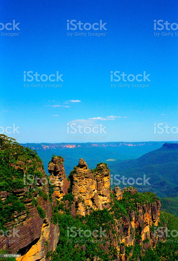 The Three Sisters Rock Formation In Australia stock photo