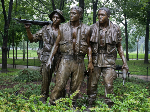 Washington DC, United States of America - June 20, 2009: Close-up of \'The Three Soldiers\' statue, sculpted by Frederick Hart. Located in the Vietnam Veterans Memorial in Washington DC