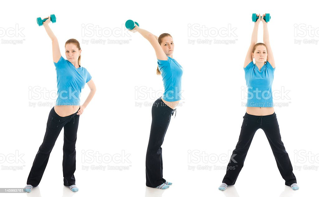 The three young woman doing exercise isolated royalty-free stock photo