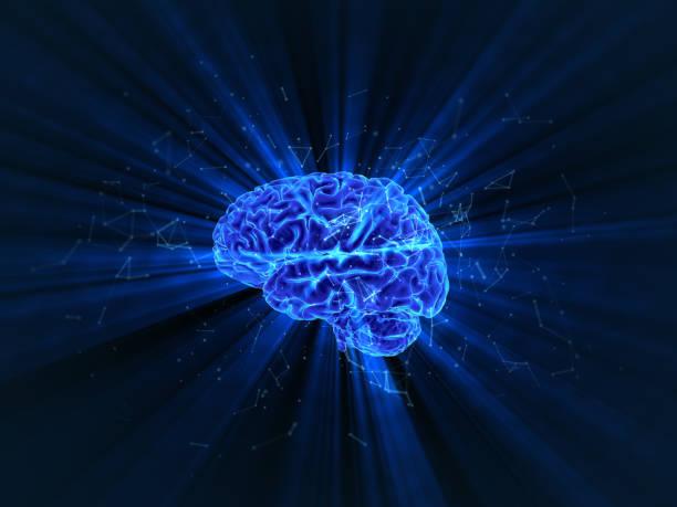 閃亮的人腦的三維渲染。 - 記憶 個照片及圖片檔