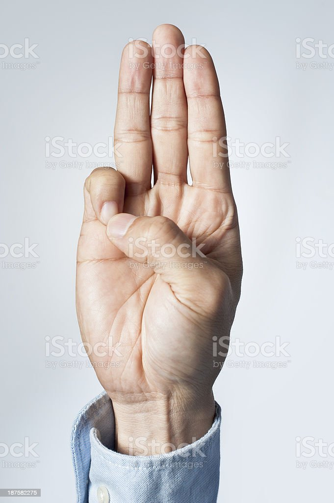 The three-finger salute stock photo