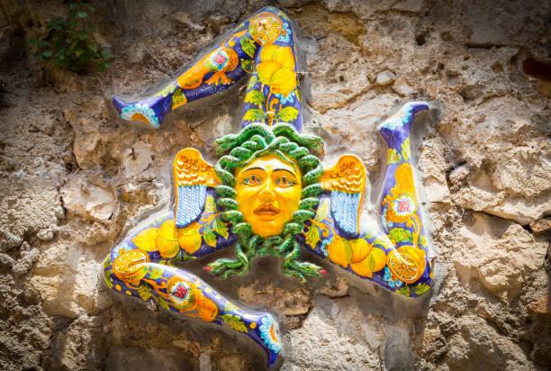 The three-legged symbol of Sicily: Trinacria stock photo