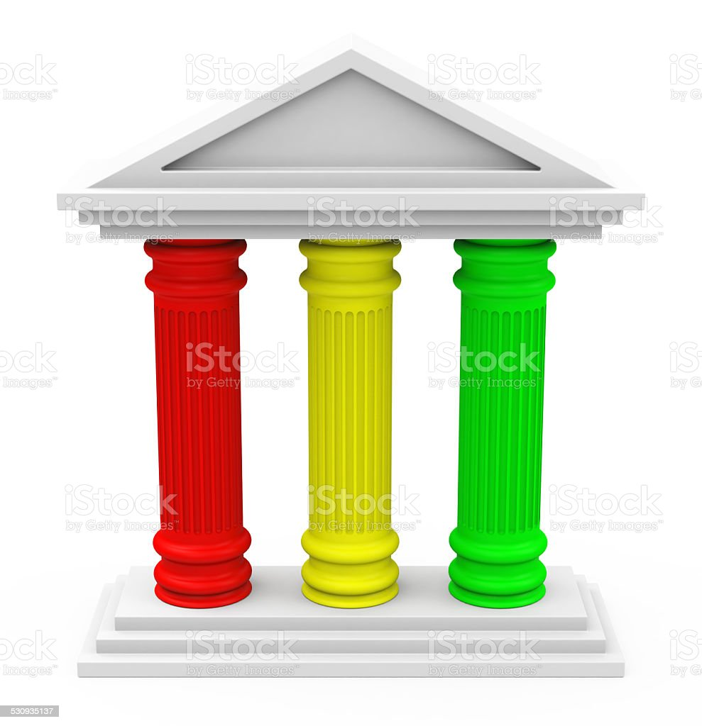 the three-pillar strategy stock photo