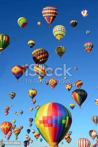 Hot Air Balloons flying high over Albuquerque, New Mexico