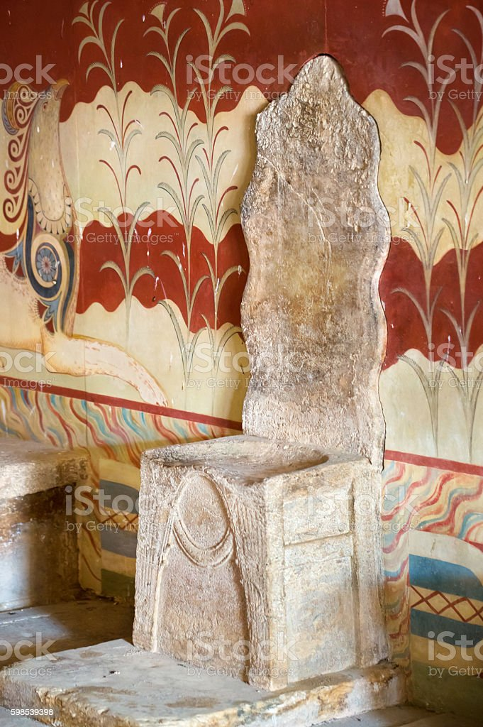 The throne of Minoan palace in Knossos, Crete (Greece) stock photo