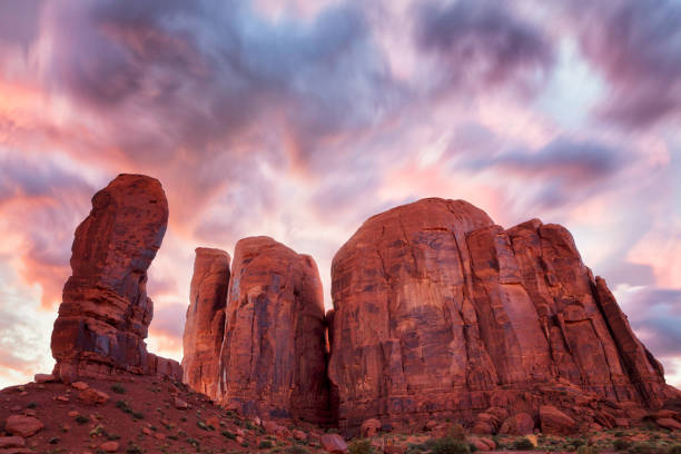 The Thumb and Camel Butte in Monument Valley, Arizona, USA stock photo