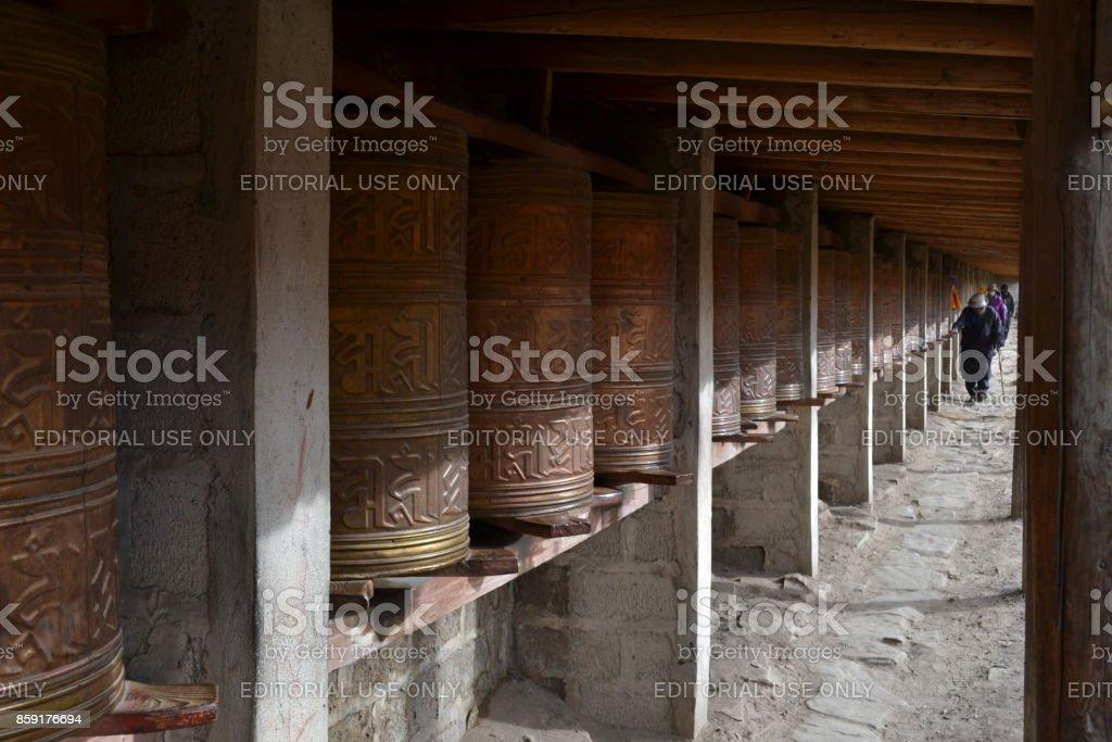 The Tibetan kora or pilgrimage and prayer wheels in Zoige, Amdo Tibet stock photo