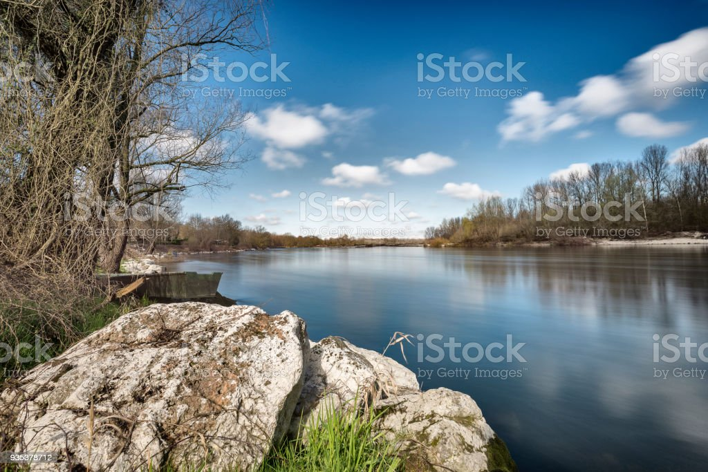 The Ticino River in a sunny winter morning stock photo