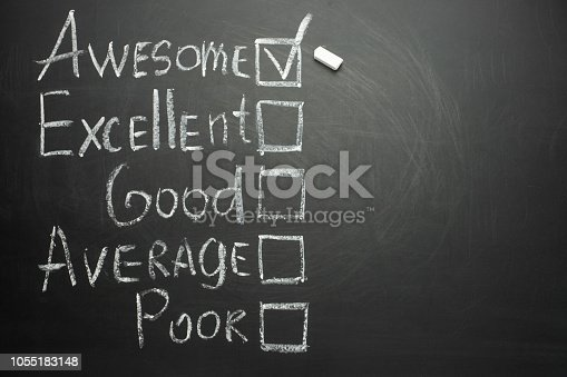 178090546 istock photo The ticker is placed in a terrific box in the form of customer satisfaction survey, on a black chalkboard with chalk 1055183148