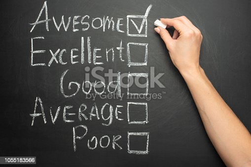 178090546 istock photo The ticker is placed in a terrific box in the form of customer satisfaction survey, on a black chalkboard with chalk 1055183566