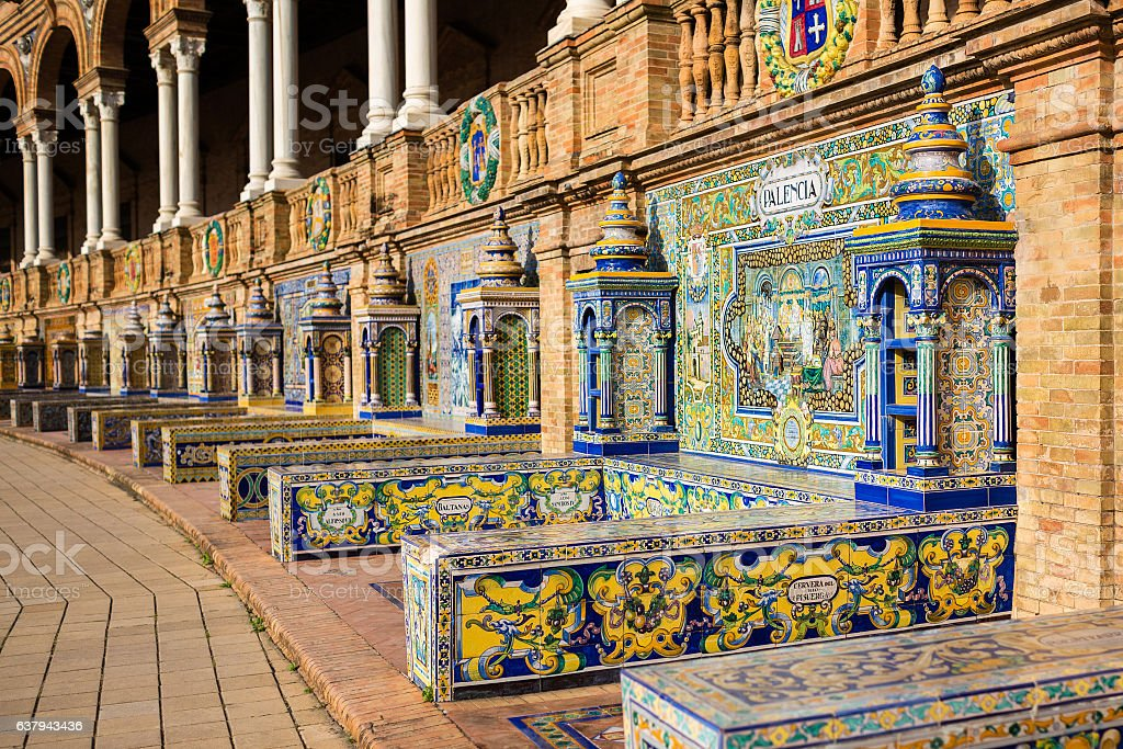 The tiled walls of Plaza de Espana. Seville. Spain. stock photo