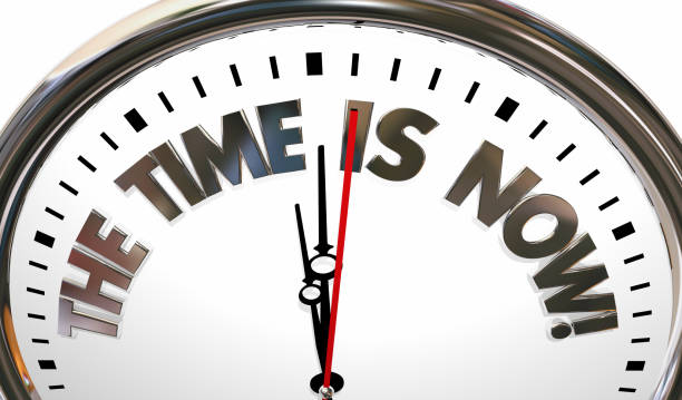 the time is now urgent action needed clock 3d illustration - urgency stock pictures, royalty-free photos & images